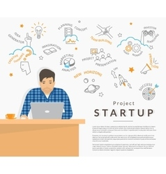 Man sitting at his work desk and planning a vector image vector image