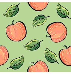 Seamless hand drawn apple pattern vector image vector image