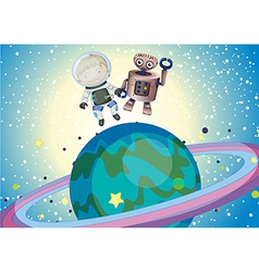 A boy and a robbot in the outer space vector