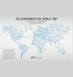 Abstract telecommunication world map with circles vector