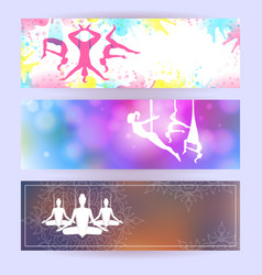 aero yoga horizontal banners vector image