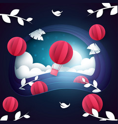 air balloon night landscape vector image