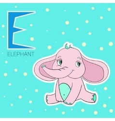 Alphabet letter E elephant children vector image