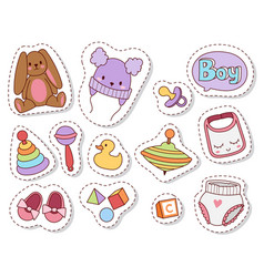 Baby toys patches cartoon family kid toyshop vector