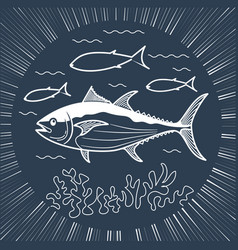 banner for fishing linear style vector image
