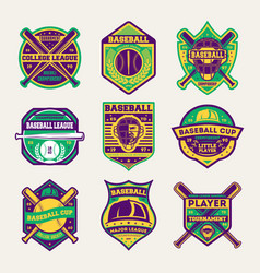 baseball professional league isolated label set vector image
