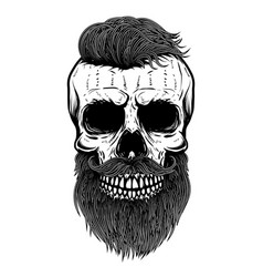 Bearded skull design element for poster emblem t vector