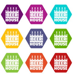 beer icons set 9 vector image
