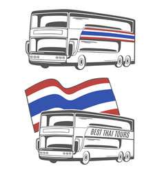 Bus with thailand flag vector