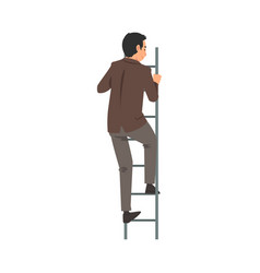 Businessman in a suit climbing ladder vector