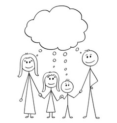 cartoon of family couple of man and woman and two vector image