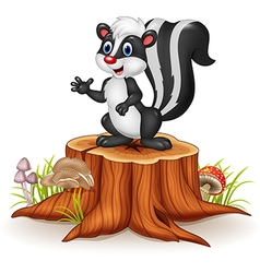 Cartoon skunk posing on tree stump vector