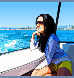 Cartoon woman rides on a boat on the sea along vector