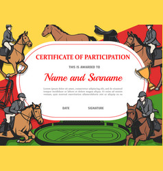 Certificate participation in horse race diploma vector
