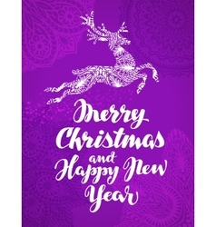 Christmas greeting card Xmas beautiful lettering vector