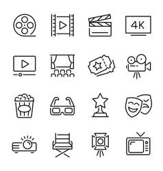 Cinema line icons set monochrome vector
