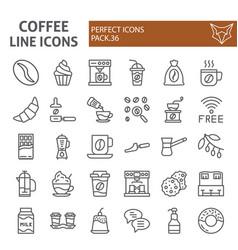 coffee line icon set cafe symbols collection vector image
