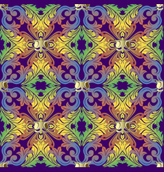colorful baroque damask seamless pattern vector image