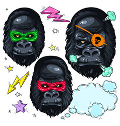 Colorful icons portrait monkey mask gorilla and vector