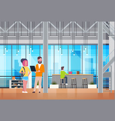 Coworking space interior modern business people vector