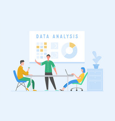 data analysis concept with characters business vector image