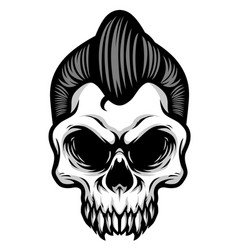 detailed classic gentlemen rockabilly skull head vector image