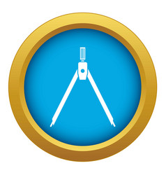Drawing compass icon blue isolated vector