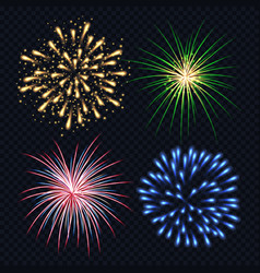fireworks realistic fire explosion burst bang vector image