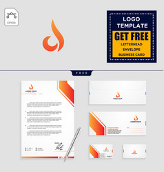 flame logo template and stationery design vector image