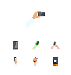 flat icon phone set of touchscreen keep phone vector image
