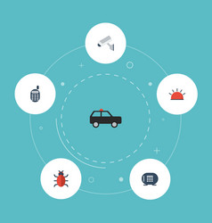 Flat icons camera virus armored car and other vector
