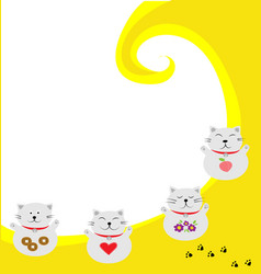 four smiling lucky cat with yellow and white vector image