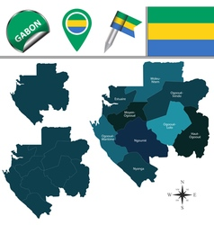 Gabon map with named divisions vector