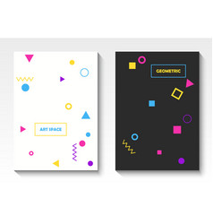 Geometric postcard templates in pop art vector