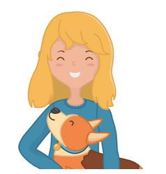 Girl with dog cartoon design vector