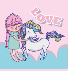 girl with unicorn cute cartoon vector image