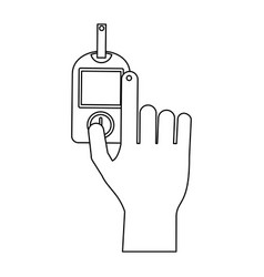 glucometer hand test black and white vector image