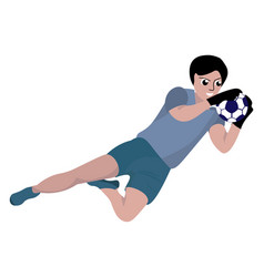 goalkeeper in air on white background vector image