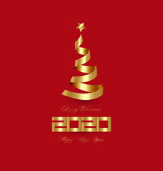 gold 2020 happy new year and creative xmas tree vector image