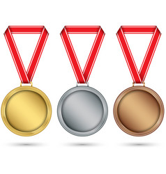 gold silver and bronze medals medal set with red vector image