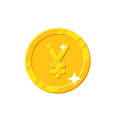 Gold yuan coin cartoon style isolated vector