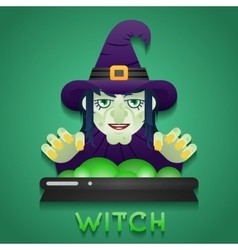 Halloween Party Witch Role Character Bust Icons vector