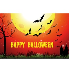 Halloween theme with fullmoon and bats vector image