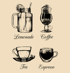 Hand drawn soft drinks lemonade coffee tea vector
