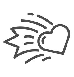 Heart comet line icon falling star heart vector