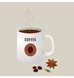 hot cup of coffee with spices vector image