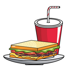 Isolated sandwich and soda design vector
