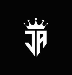 ja logo monogram emblem style with crown shape vector image