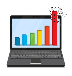 Laptop with business graph vector