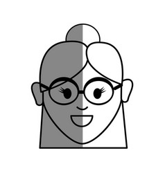 line old woman face with glasses and hairstyle vector image